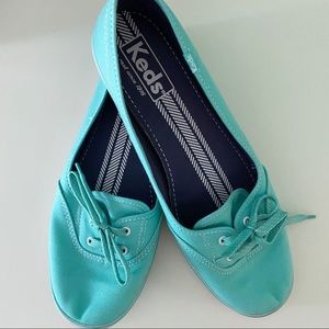 Keds Aqua Blue Teacup Tie Slip-On Sneakers